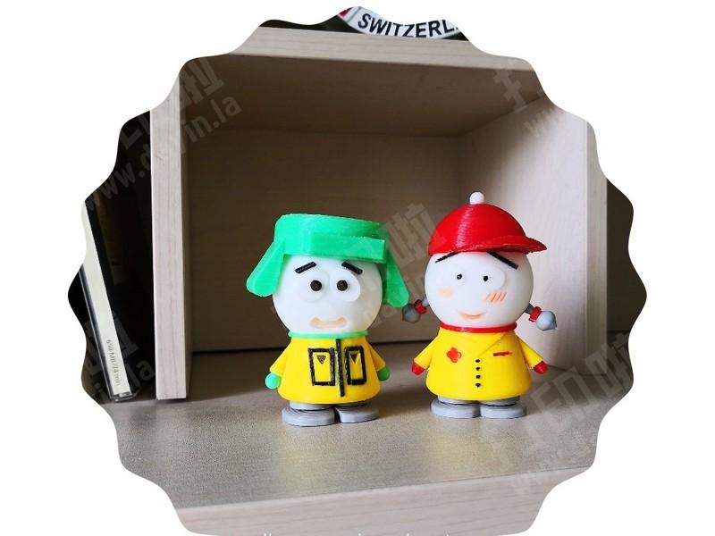 绿帽子和红帽子娃-3d打印模型