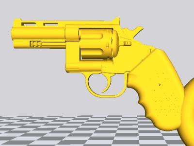 柯尔特左轮短版钥匙链吊坠-3d打印模型