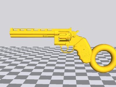 柯尔特左轮长版钥匙链吊坠-3d打印模型
