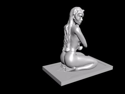 雕塑-跪着的女人(已修复所有错误,已修成精模)-3d打印模型