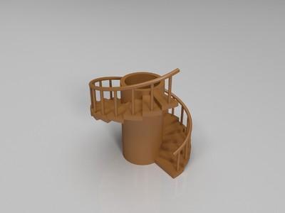 螺旋楼梯笔筒-3d打印模型