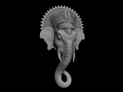 大象头壁挂-3d打印模型