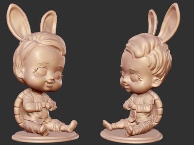 ZB精雕 王八儿子 兔子精 3d打印 ztl obj格式-3d打印模型