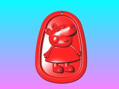 动漫吊饰 - 小猪佩奇2吊饰-3d打印模型