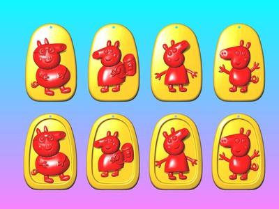 动漫吊饰 - 粉红猪一家亲吊饰-3d打印模型