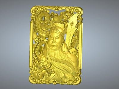 经典玉雕系列-正义关公-3d打印模型