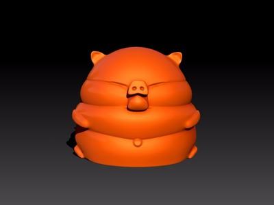 Q版福气胖猪猪-3d打印模型