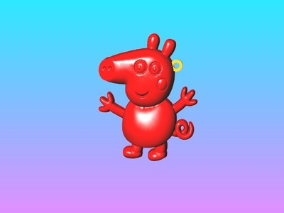 小猪乔治钥匙圈吊饰-3d打印模型