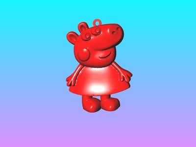 小猪佩奇钥匙圈吊饰 2-3d打印模型