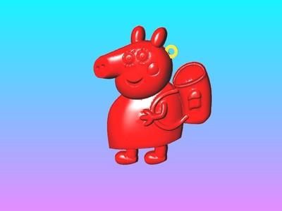 猪妈妈钥匙圈吊饰-3d打印模型