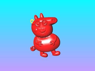 猪爸爸吊钥匙圈吊饰-3d打印模型