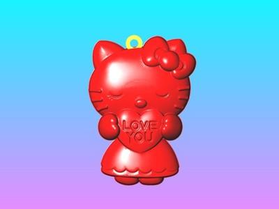 Loveyou凯蒂猫钥匙圈吊饰-3d打印模型