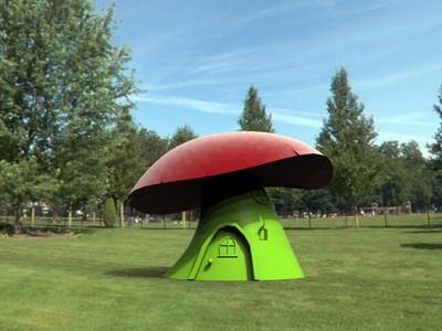 彩色蘑菇房子-3d打印模型