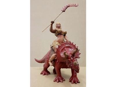 骑在恐龙上的女孩-3d打印模型