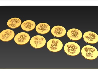 十二生肖中国风硬币-3d打印模型