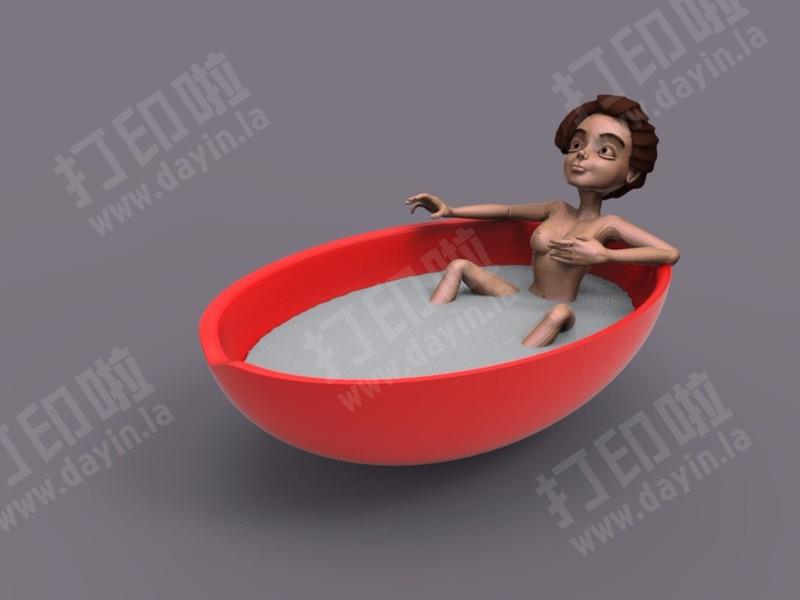 特色烟灰缸 卡通女孩浴缸 首饰盒-3d打印模型