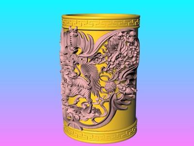 经典笔筒系列-麒麟五福图-3d打印模型