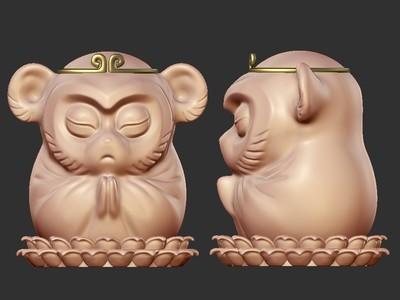 佛猴 茶宠 zb精雕-3d打印模型