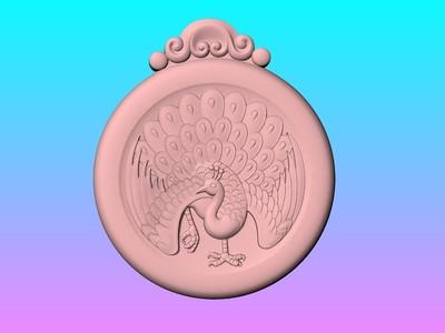 經典玉雕系列~孔雀吊饰-3d打印模型