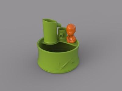 竹筒流水鱼缸盆景花盆-3d打印模型