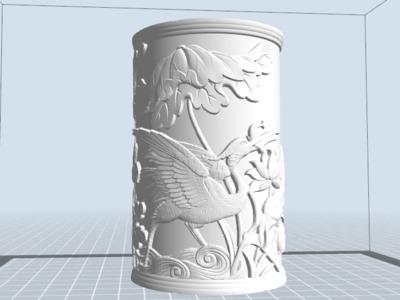 仙鹤入莲池笔筒-3d打印模型
