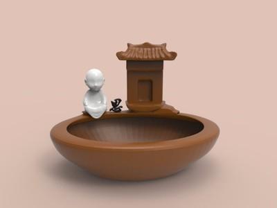 中式摆件禅意小生花盆鱼缸-3d打印模型