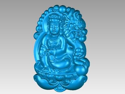 經典玉雕系列-龍守護菩薩-3d打印模型