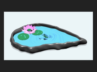 荷塘-3d打印模型
