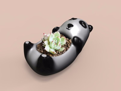 熊猫花盆-3d打印模型