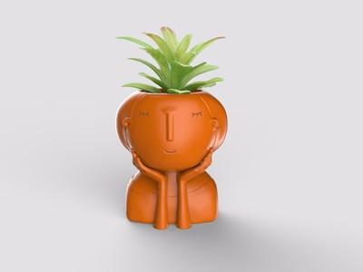 少女花盆-3d打印模型