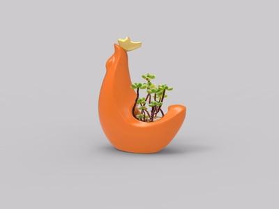 公鸡多肉植物花盆-3d打印模型