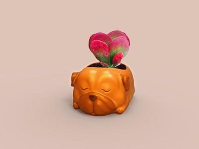 小狗狗多肉植物花盆-3d打印模型