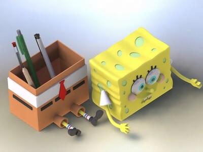 海绵宝宝 笔盒-3d打印模型