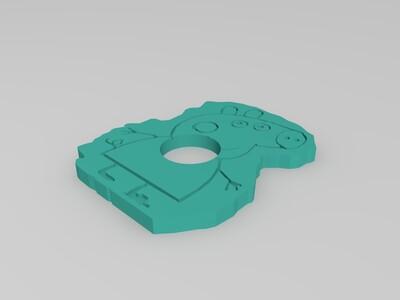 小猪佩奇阴刻指尖陀螺-3d打印模型