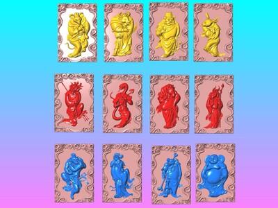 经典玉雕系列-金身兽首十二生肖-云雕框-3d打印模型
