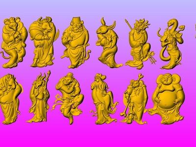 经典玉雕系列-金身兽首十二生肖-加大无框-3d打印模型