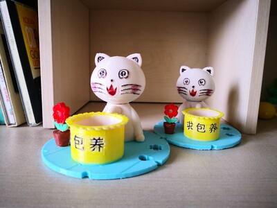 甜甜猫笔筒-3d打印模型