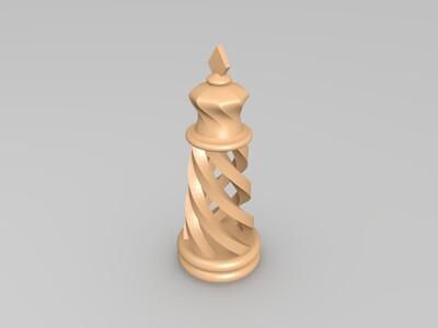 旋转的国际象棋-3d打印模型