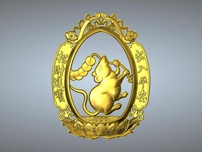 經典玉雕系列~十二生肖-平安招财版-3d打印模型