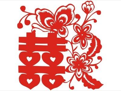 中国风剪纸艺术-蝴蝶喜字-3d打印模型