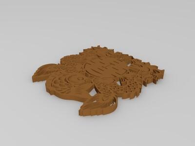 喜字鱼雕-3d打印模型