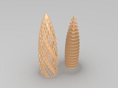 镂空双层建筑-3d打印模型