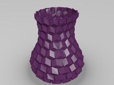蜂巢花瓶笔筒-3d打印模型