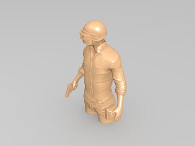 吃鸡半身人物雕塑-3d打印模型