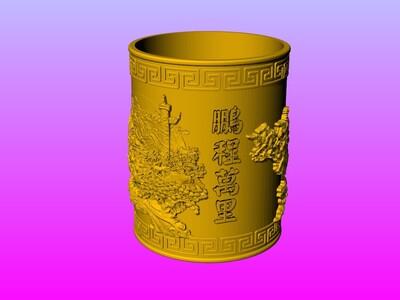 经典笔筒系列-万马奔腾-3d打印模型