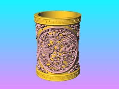 经典笔筒系列-圓盤龍鳳筆筒-3d打印模型