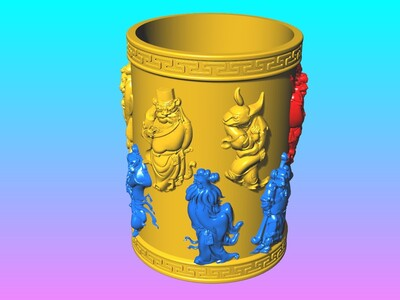 经典笔筒系列-金身兽首十二生肖笔筒-3d打印模型