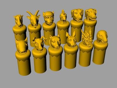 《印章系列》-十二生肖兽首圓章-3d打印模型