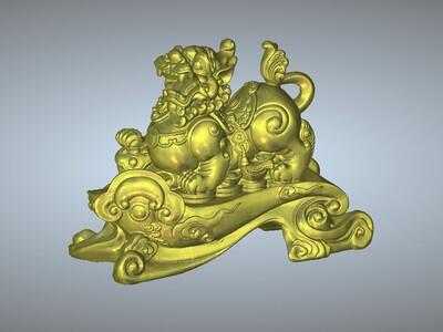 金银财宝招财貔貅摆件-3d打印模型