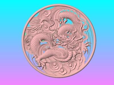 经典玉雕系列-龙雕云龙浮雕-3d打印模型